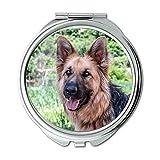 Yanteng Spiegel, Compact Spiegel, Hund Hund Wolf Tier Haustier Look Deutsch Schäferhund, Taschenspiegel, tragbare Spiegel