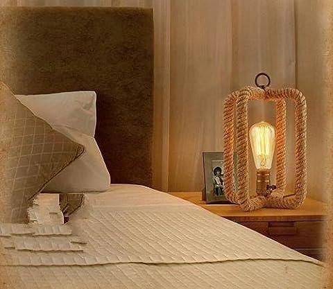 Chiffon Bouton Style Lampe Chanvre Pastorale Rurale Tissu Couvercle Lampe Simple Mode Créatif Décoration Étude Lit Chambre Chevet Lampe De Table 15 * 50Cm