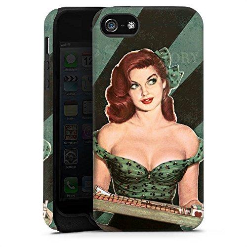 Apple iPhone X Silikon Hülle Case Schutzhülle Pinup Girl Frau Retro Tough Case matt