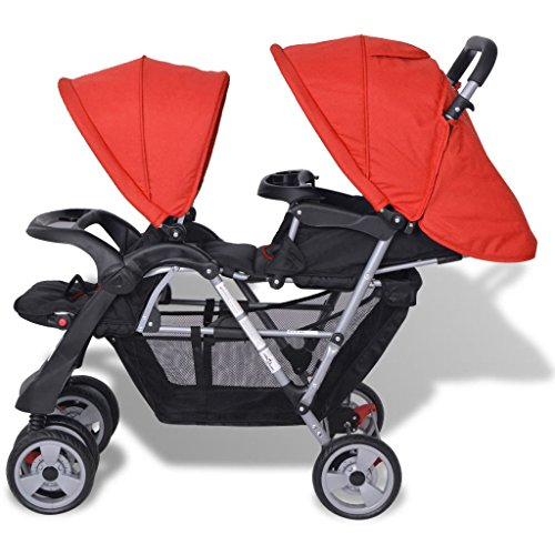 Vislone 2 Tandem Stroller Double Pushchair with Anti-UV Covers Foldable Trolley Steel  Vislone