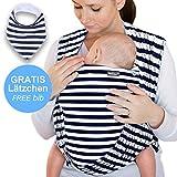 Makimaja - Écharpe de portage 100% coton - bleu marine à rayures - porte-bébé de haute qualité pour nouveau-nés et bébés jusqu'à 15 kg - incl. sac de rangement et bavoir bébé