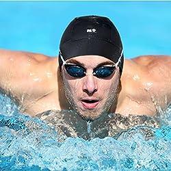 Mi Swim Cap Para Hombres: gorro de natación (neopreno, se mantiene en aguas difíciles sin una irritante correa de barbilla, Negro
