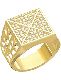 Spangel Fashion Designer 18 Ct. Gold Plated American Diamond Jewellery Ring For Men - B078CQBMD7