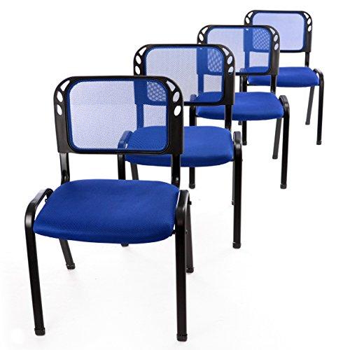 Nexos 4er Set Bürostuhl Konferenzstuhl Besucherstuhl Blau Gepolsterte Sitzfläche stapelbar 52,5 x...