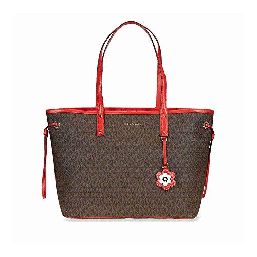 Michael Michael Kors Carter Canvas Large Reversible Tote Handbag in Brown Begonia -
