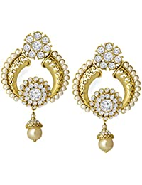 Spargz Indian Bollywood Designer Earring Gold Plated AD Stone With Pearl Drop Earrings For Women AIER 1054