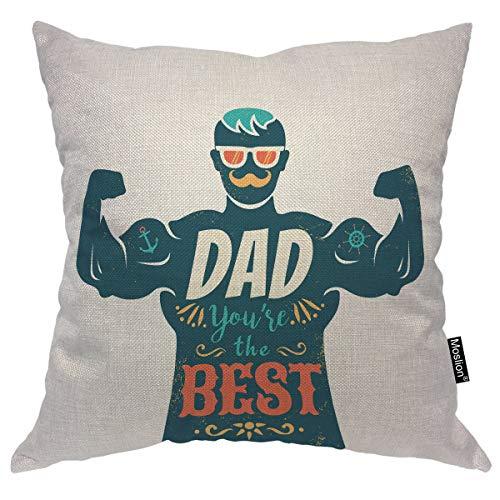 Moslion Man Überwurf-Kissenbezug, superstark, mit Aufschrift Dad You're The Best Zitat Happy Vather's Day, dekoratives quadratisches Kissen, Akzent Baumwolle/Leinen, 45,7 x 45,7 cm für Sofa Stuhl -