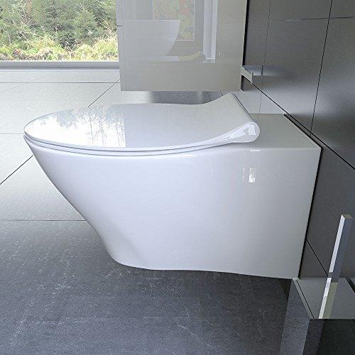 Spülrandloses Hänge WC Keramik Toilette ohne Spülrand inkl. Duroplast WC-Sitz mit Soft-Close / Quick Release Funktion passend zu GEBERIT - 5