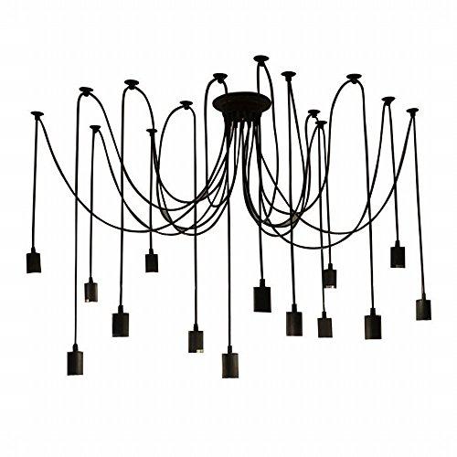 Lustre araignee,Lixada E27 Douille Rétro Industriel abat-jour Suspensions Noir,DIY Ajustable Longueur,avec 1.8m fil, 14 bras (pas d'ampoule)