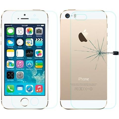 iPhone 5/5S película antigolpes cristal templado 0,3mm LOPURS delantero/trasero
