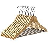 SONGMICS Kleiderbügel aus holz für Mäntel, Jacken und Hosen, 20 Stück, rutschfesten Anzugbügel Jackenbügel aus Bambus,360 Grad drehbar, 44,5 cm, Natur, CRW002-20