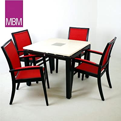 MBM Gartentisch Marmor Ecru 90x90x74cm+4Holzstühle Sessel stapelbar 5tlg.Set