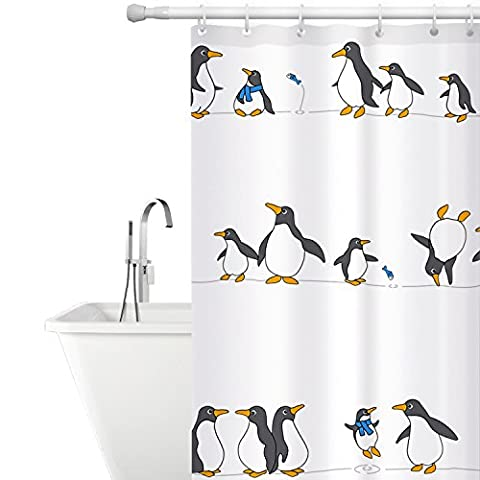 Tatkraft Penguins Shower Curtain 180X180cm Waterproof Textile Polyester Material 12