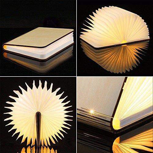 Große LED Buch lampe in Buch Form Holzbuch mit 2500 mAh Akku Lithium Nachttischlampe Nachtlicht dekorative Lampen Ölbildscheibe Papier + Holz Einband warmweiß Licht, Maße 22x3x17.5 cm - 3