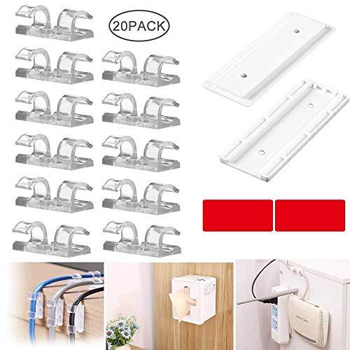 Hamkaw Selbstklebende Kabel-Clips, Power-Strip, Fixator-Kit, stanzfreie Power-Stip Wandhalterung mit 20 transparenten Drahtklemmen für Zuhause, Büro -