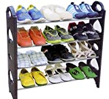 #5: favy 4 Tier Stackable Shoe Rack 12 Pairs Shoe Rack Organizer Four Layer Shoe Rack/Shoe Shelf/Shoe Cabinet, Easy Installation Stand for Shoes M-164 SW-01