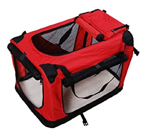 "Pawhut Folding Fabric Soft Portable Pet Dog Cat Crate Puppy Kennel Cage Carrier House Medium 23"" Red New"