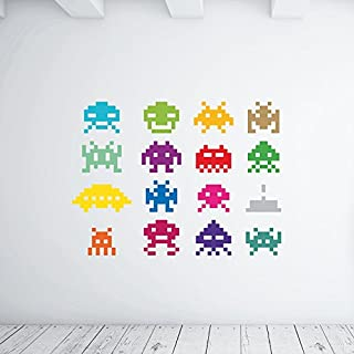 Adesiviamo ® Colorful Space Invaders Wall Sticker Wall Art Large Multicolor