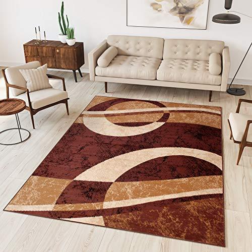 Tapiso dream tappeto salotto moderno soggiorno marrone beige astratto cerchi onde a pelo corto 200 x 300 cm