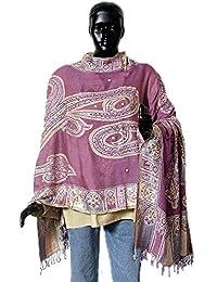 DollsofIndia Women's Sequined Woolen Stole - Woolen - Mauve