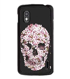 Flower Skull 2D Hard Polycarbonate Designer Back Case Cover for LG Nexus 4 E960 :: LG Nexus 4 :: LG Mako