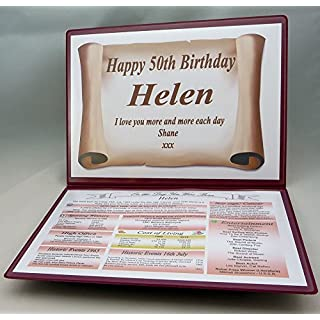 AGS-Designs PERSONALISED - 50TH BIRTHDAY GIFT - THE DAY YOU WERE BORN - KEEPSAKE