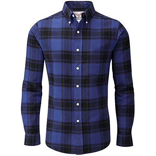 Charles Wilson Long Sleeve Plaid Flannel Shirt (Large, Blue & Navy)