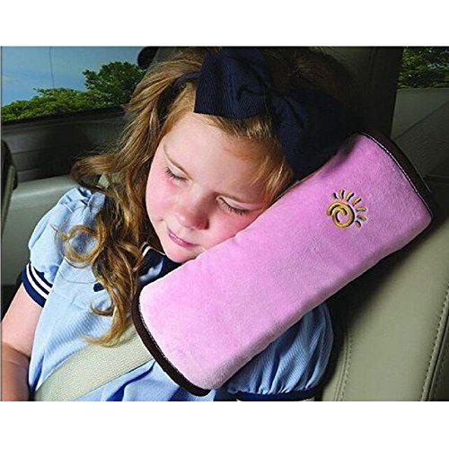 lemonda® Kissen abnehmbar waschbar und Praxis Auto Auto Kissen Autosicherheitsgeschirr-Fahrzeug Komfortable Schutz doppelt Hals aus Samt Wildleder Sitzkissen KFZ-für Kinder 28,5* 11* 7,1mm