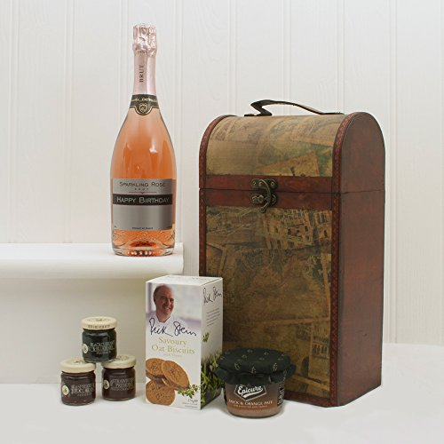 'Happy Birthday' Personalised Sparkling Rose Wine and Food Hamper Presented in a Clarendon Vintage Style Hamper - Gift Ideas for Birthday, Him and Her