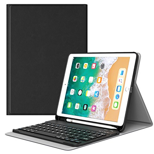 MoKo Case per Tastiera per iPad 9.7 2018 - Tastiera Bluetooth QWERTY (Layout Inglese) Custodia con Portapenna per Apple all-New iPad 9.7 inch 2018 Released Tablet (A1893 / A1954), Nero