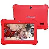 Alldaymall - 2017 Nouveau tablette tactile enfant 7', Quad Core, Android, appareil photo, 1GB + 8GB, écran HD(3rd Generation, avec étui silicone Rouge )