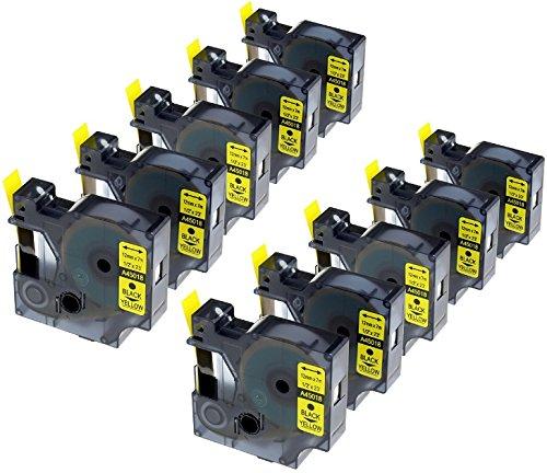 10x Schriftband-Kassetten D1 45018 S0720580 schwarz auf gelb 12mm x 7m kompatibel für DYMO LabelManager LM 160 210D 220P 260P 280 360D 420P 450D 500TS PnP MobileLabeler LabelPoint LabelWriter 450 Duo -
