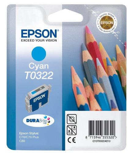 Epson T0322 Cartouche d'encre d'origine Pigment Cyan pour Stylus C70 C80