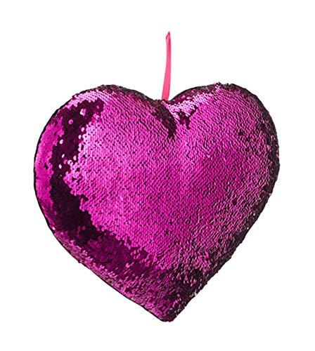 Brand sseller Lentejuelas Cojín en Forma de corazón con Cambio de Color de cojín, Silber/Rosa, 42x42x13 cm