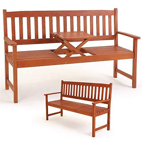 Deuba Gartenbank Picknick Tisch | FSC®-zertifiziertes Eukalyptusholz | inkl. hochklappbarem Tisch | In- + Outdoor | Robust - Holzbank Gartenmöbel Sitzbank Garten Bank
