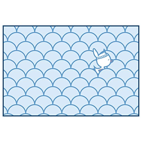 Teppich, einfache frische Blaue Wohnzimmer-Couchtisch-Schlafzimmer-Fußmatte-rechteckiger Teppich (Size : 76 * 45cm) -