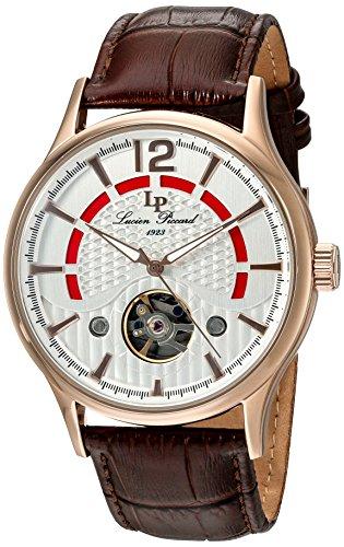 Lucien Piccard uomo Transway 46mm marrone in vera pelle & acciaio cassa orologio automatico 15038-rg-02s