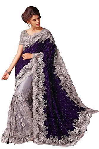 Clickedia Women\'s Beautiful Net Navy Blue & Silver Grey embroidered Saree With Blouse Pc