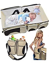 Babies Bloom Beige Portable Multifunctional Baby Travel Bed Cot/Bassinet And Folding Mummy Diaper Bag