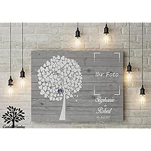 70x50 cm, Leinwanddruck-Gästebuch mit Platzhalter für Foto. Hochzeitsbaum, Wedding Tree, Rustikales Gästebuch, Leinwanddruck - Baum, Keilrahmen und Holz Motiv