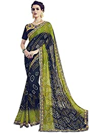 Pisara Women's Georgette Bandhani Saree With Blouse, Blue & Green