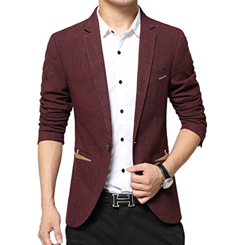 Vividda Costume Manteau Casual Men Slim Cotton Blazer coréenne Casual Jacket boutons One Fashion Style Bourgogne