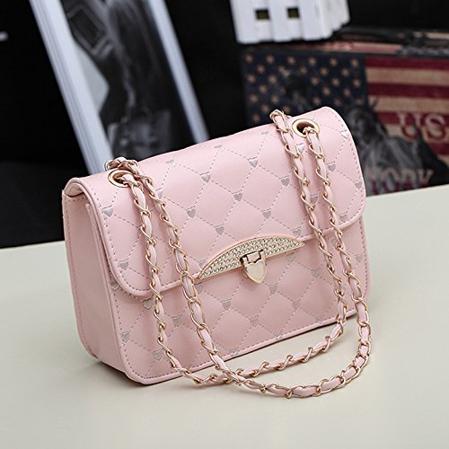 New Quilted Faux Leather Gold Chain Cross Body Handbag Vintage Evening Bag (Pink)
