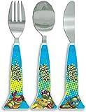 Teenage Mutant Ninja Turtles Half Shell Heroes Triangle Cutlery Set, Plastic, Blue, Set of 3