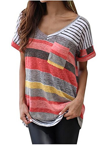 Women's V-neck Casual Short Sleeve T-shirt Blouse Tees Tops Red