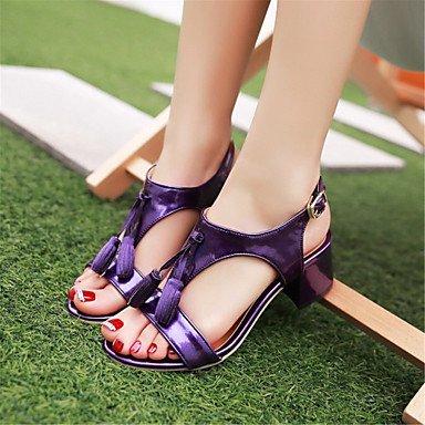 LFNLYX donna tacchi Primavera / Autunno / Inverno piattaforma / Comfort materiali personalizzati / similpelle matrimonio abito / / Casual Chunky fibbia tacco Purple