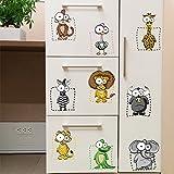 Znzbzt Tier 9-quadratischen Raster niedliche Tiere Wohnzimmer Kühlschrank cartoon Wall Sticker abnehmbaren Aufkleber