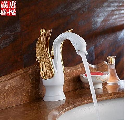 JYLW Voll Messing einzigen Loch-Waschtischarmatur Waschbecken mit warmen und kalten Wasserhähne Porzellan Weiß und Gold Vogel,Alle Kupfer Wasserhahn , Wasserhähne , retro Wasserhahn , Wasserhahn Luxus