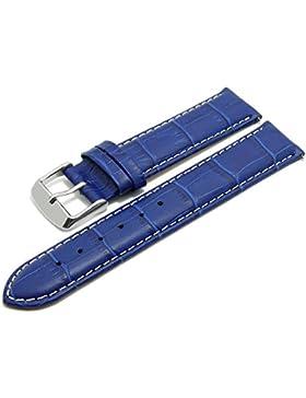 Meyhofer EASY-CLICK Uhrband Marseille 16mm blau Alligator-Prägung weiße My2hesl3013