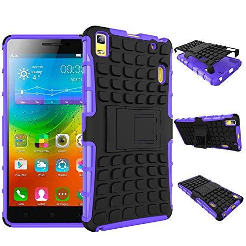 Qiaogle Teléfono Case - Shock Proof TPU + PC Hibrida Stents Carcasa Cover para Lenovo K3 Note / K50-t5 4G LTE / A7000 (5.5 Pulgadas) - HH03 / Púrpura